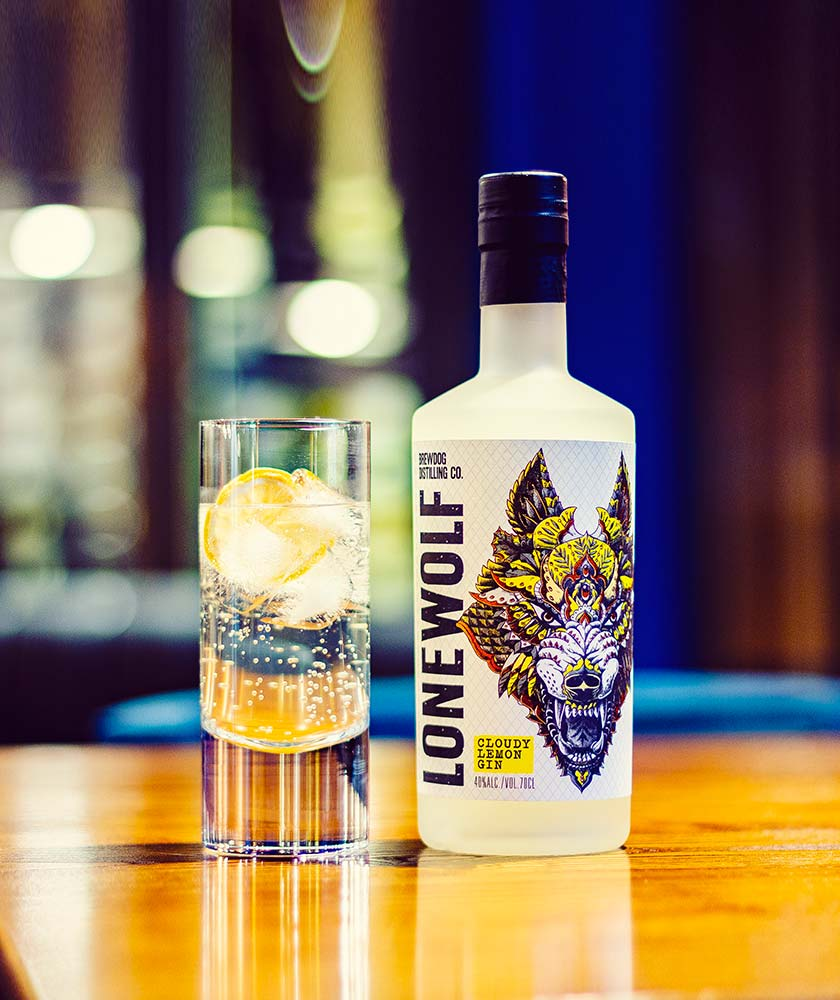 LoneWolf Cloudy Lemon Gin Bottle